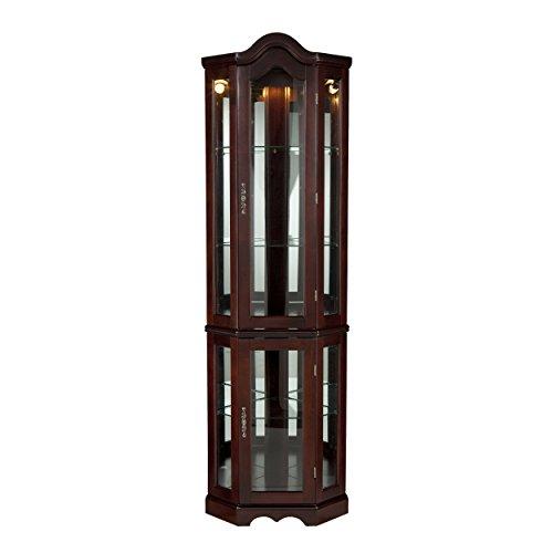 "SEI Furniture Lighted Corner Curio Cabinet, 70""H x 21""W x 16""D, Mahogany"
