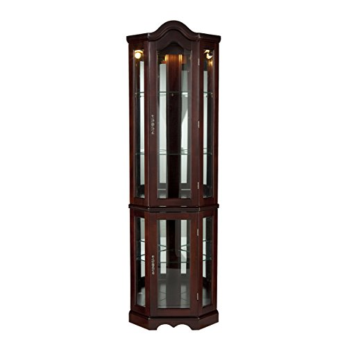 Home Decorators Collection Vitric Lighted Curio, 70' Hx21 Wx16 D, Mahogany
