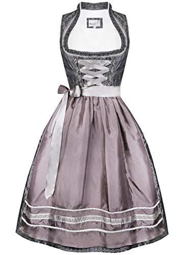 MarJo Trachten Damen Trachten-Mode Midi Dirndl Abea in Anthrazit traditionell, Größe:38, Farbe:Anthrazit