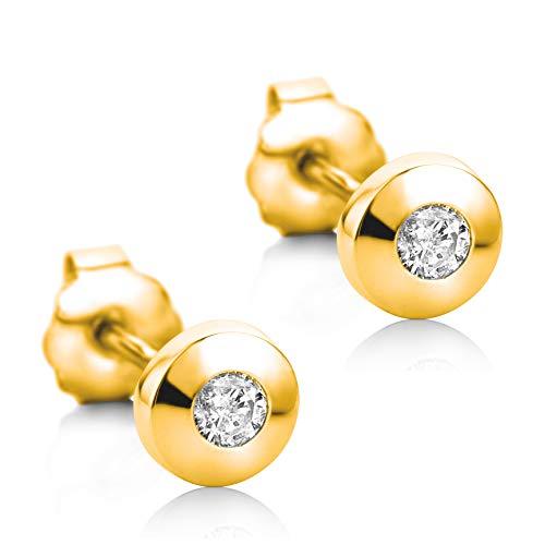 Orovi Damen Ohrringe mit Diamanten Gelbgold Solitär Ohrstecker 14 Karat (585) Gold und Diamant Brillanten 0.08 Ct Ohrring Handgemacht in Italien