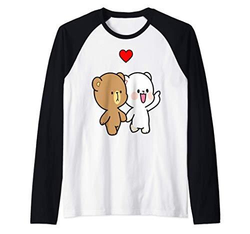 Oso de leche y moca caminando enamorados Camiseta Manga Raglan
