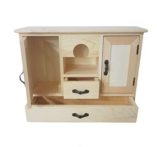 takestop® Armario armario puertas cajonera portaobjetos 4 cajones de madera decoupage 28 x 9 x 23 cm escritorio papelería casa oficina
