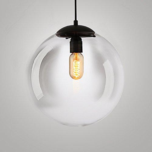 Hines Vintage Pendelleuchte, Industrielle Lampe Transparent Runde Glaskugel Hängenden Lampenschirme Retro Decke Kronleuchter Lampenschirm Retro Deckenleuchte Vintage Lampe (Size : 25cm/9.84in)