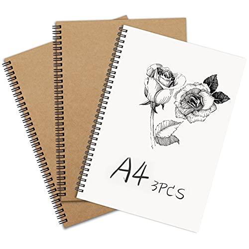 Bosquejo Cuaderno A4, Espiral Cuaderno de bocetos Cubierta de Kraft Papel en Blanco Cuaderno Pack de 3 Adecuado para niños o adultos a los que les gusta dibujar.