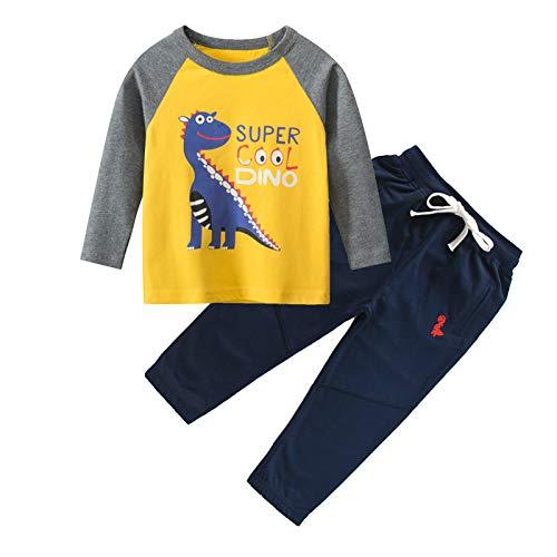 IjnUhb Conjunto de ropa para bebé con diseño de dinosaurios de manga larga y pantalones para niños de 2 piezas, Amarillo marino, 2 Años
