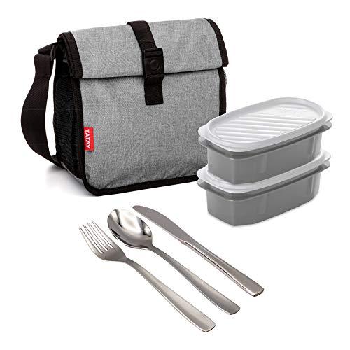 Bolsa Térmica Porta Alimentos TATAY Urban Food Roll&Go Denim Grey con 2 Contenedores Top Flex de 0.5L y Cubiertos Basic Niquel-Free