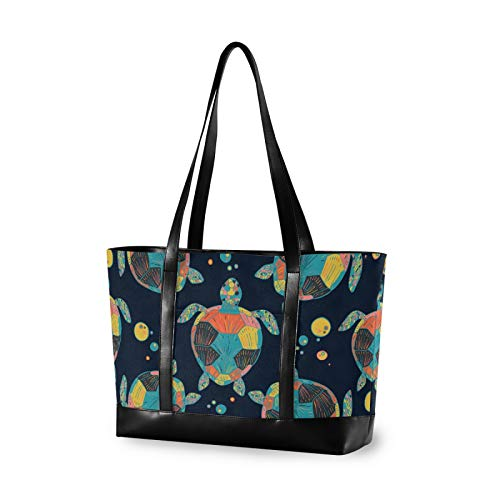 Large Woman Laptop Tote Bag - Tropical Fish Sea Turtles Canvas Shoulder Tote Bag Fit 15.6 Inch Computer Ladies Briefcase for Work School Hiking