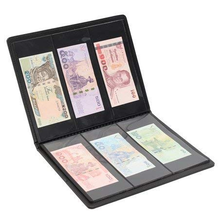 Lewano Leather Currency Album for notes (90 pockets)- Fits Big Currency Notes - Black