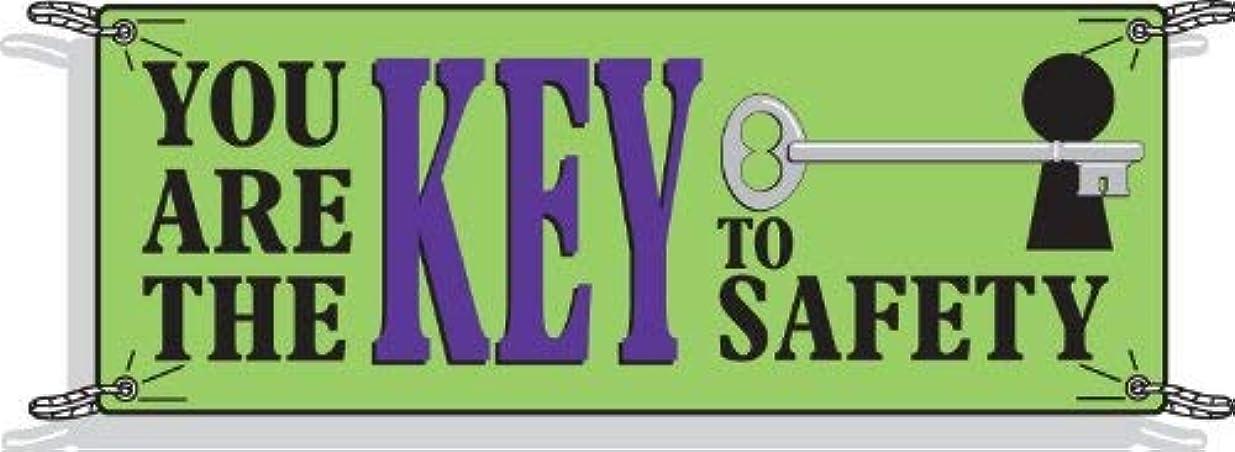 出撃者チーター穀物Brady 50903 3-1/2' Height 10' Width Vinyl Black And Blue On Green Color Safety Banner Legend You Are The Key To Safety (With Picto) [並行輸入品]
