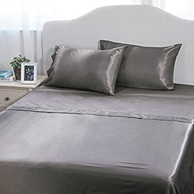 Bedsure 4-Piece Cool Satin Bed Sheet Set Queen Dark Gray Smooth and Silky with Deep Pocket Fitted Sheet