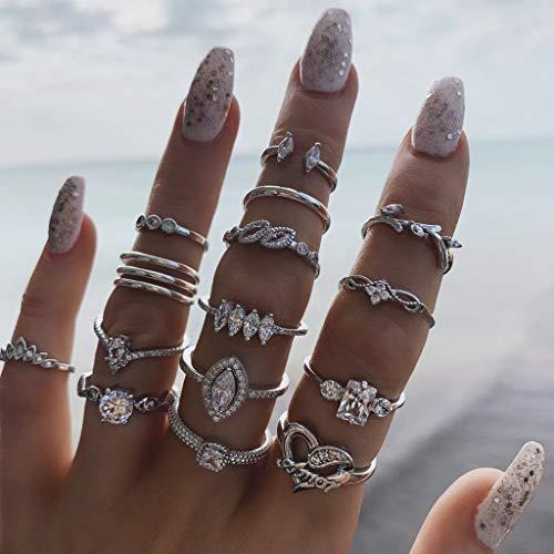 IYOU, Set di anelli vintage per nocche, colore argento, con pietre in cristallo, impilabili, stile stravagante, gioielli per donne e ragazze, confezione da 15 pezzi