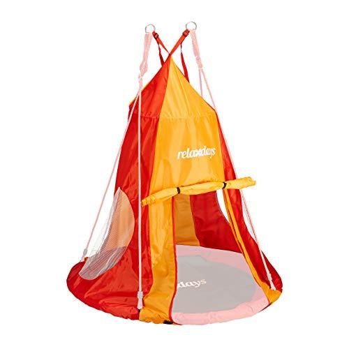 Relaxdays, rot-orange Zelt für Nestschaukel, Bezug für Schaukelsitz bis 110cm, Rundschaukel Zubehör, Garten Schaukelnest