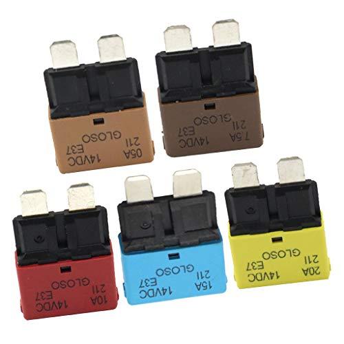 KESOTO 5 Pcs Flachstecksicherung ATC Set Auto Mini 5A + 7,5A + 10A + 15A + 20A + 25A Flachsicherungen