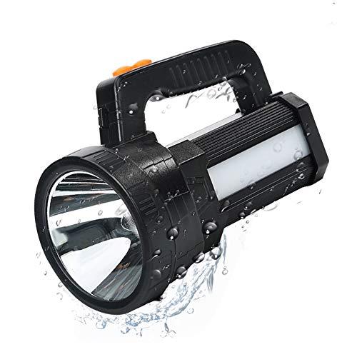 Linterna LED Recargable, Linterna LED Alta Potencia, 3 en 1 Súper Brillante 9600mAh/11000LM, Impermeable IPX4, Correa y Cargador Incluido, Linterna Gran Alcance, Ideal para Camping, Ciclismo, Pesca
