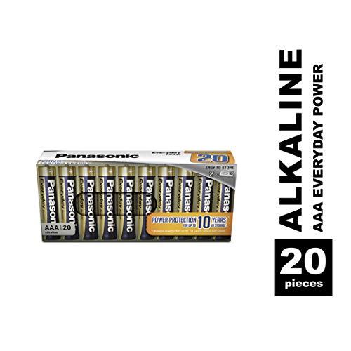 Panasonic EVERYDAY POWER Alkaline Batterie, AAA Micro LR03, 20er Pack in plastikfreier Verpackung, für zuverlässige Energie, Alkali-Batterie