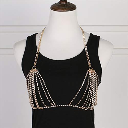 XYUfly20 Bikini-BH-Kette Damen BH Kettenschmuck, Body Chain BH Sommerkleidung Frauen Und Weiblicher Körperschmuck Als Tanzkostüm (Color : Gold)