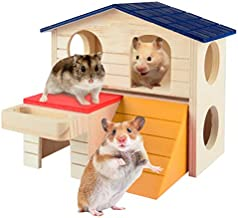 Hamster House Pet Small Animal Wooden Hut with Food Trough, Hamster Toys Decorations, Hamster Hideout Villa, Durable Two Layers Wooden Hut Chew Toys Material, for Hamster and Small Animals