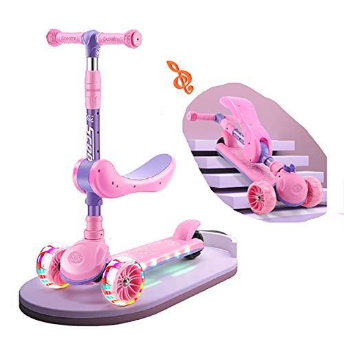 Patinetes Scooter de Tres Ruedas niños con Musical,Pink