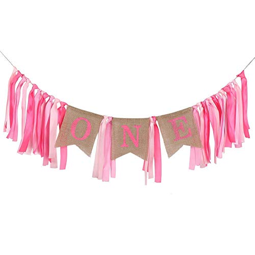 Birthday Banner Baby 1st Birthday Highchair Banner Bunting Ribbon & Burlap Hanging Garland Chair Flag Personalised First One Year Old for kids Decoration for Boy Girl Birthday Party