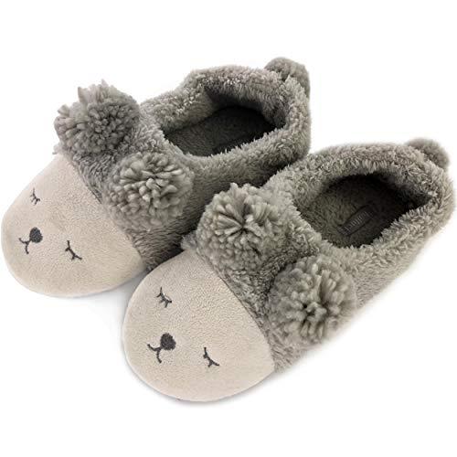 OSVINO Damen Pantoffeln Tiere-Serie Plüsch kuschelig süß TPR Sohle für Schlafzimmer Winter, Graues Schaf EU 42-43