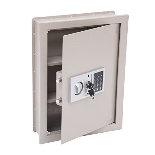 "HOMCOM Flat Recessed Digital Keypad Home Security Gun Cash Wall Safe Box, 19"", Grey"