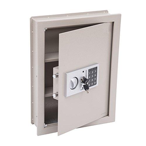 HOMCOM Flat Recessed Digital Keypad Home Security Gun Cash Wall Safe Box, 19', Grey