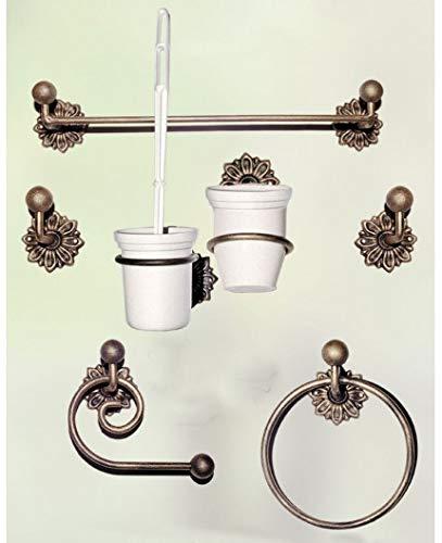 Hogares con Estilo - Juego de baño de Hierro Forjado artesanalmente en España formado por 7 Piezas. Modelo Dalia Color ÓXIDO
