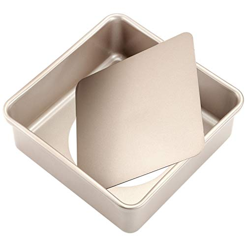 CHEFMADE Square Cake Pan, 8-Inch Deep Dish with Removable Loose Bottom Non-Stick Square Bakeware for Oven Baking (Champagne Gold)