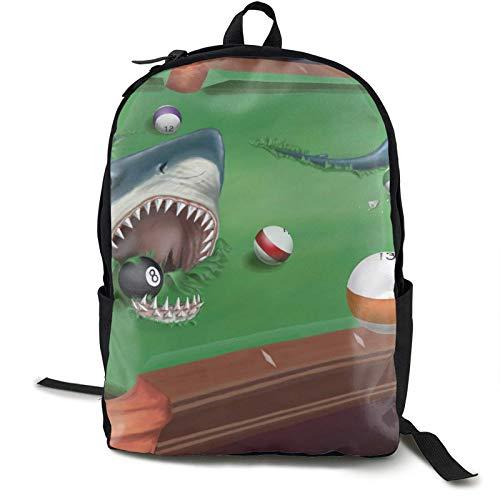 Mochila, mochila mochila clásica, bolsa para ordenador, diseño de tiburón en una piscina