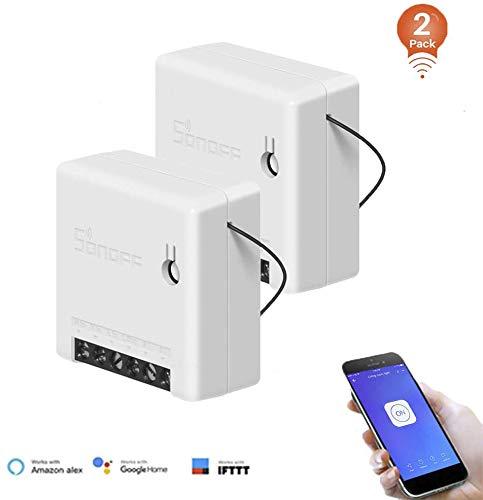 2Pack, SONOFF MINI 10A Interruptor Inalámbrico Wi-Fi Inteligente, Módulo Universal para Bricolaje para Solución de Automatización Domótica,Funciona con Amazon Alexa