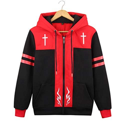 Cosstars Fate Zero Fate/Stay Night Anime Kapuzenpullover Sweatshirt Cosplay Kostüm Hoodie Jacke Top Mantel Rot L