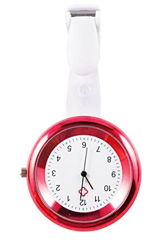 Ellemka - JCM-2103 NN H+ Krankenschwesternuhr Pflege | Taschenuhr Ansteckuhr Analog | Digitales Quarzwerk | Hängeband in ABS Kunststoff mit Clip | Red Rot