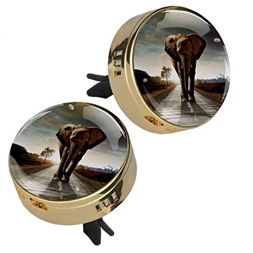 Indimization Auto-Diffusor für ätherisches Öl, Adler, goldener Lüftungsclip, Metall, Glas, Kristall, 3D-Display + 4 Nachfüllpads (geruchlos), 2 Stück 3,5 x 3,2 cm