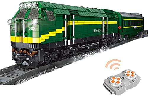 Juego de bloques de construcción Tracks, 1552 piezas de tren locomotora de vapor con motor y luz, modelo de colección de ladrillos MOC para niños y adultos (tren locomotora diesel)