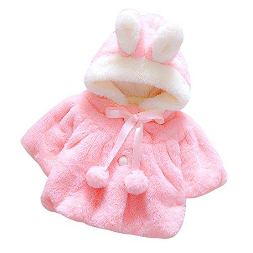 Bekleidung Longra Baby Kleinkind Mädchen winterjacke Kinderjacken Fell Warm Winter Coat Mantel Jacke Dicke warme Kleidung(0-24Monate) (80(9-12 Monate, Watermelon Red)