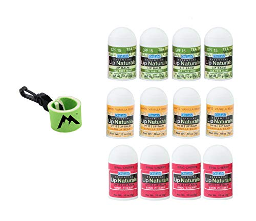 Lip Naturals | mini lip balm, assorted flavors - 12 Count | Bundle with | 1 mini neoprene sleeve, lip balm holder with swivel clip by Mile High Online (13 Total Items)