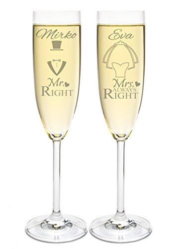 Leonardo 2 Sektgläser mit Gravur des Namens zur Hochzeit Motiv Mr & Mrs Right Sekt-Glas graviert Geschenkidee