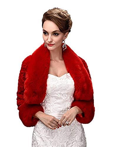 Oncefirst Women's Winter Faux Fur Wedding Jacket for Bride Wrap Shawl Bolero Jacket Red M