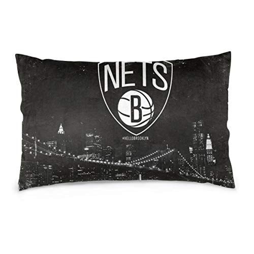 XNMCNEV NBA Brooklyn Nets Logo Throw Pillow Case Fundas Decorativas para Almohada Double Side Cushion Cover 14'X20' No Filler