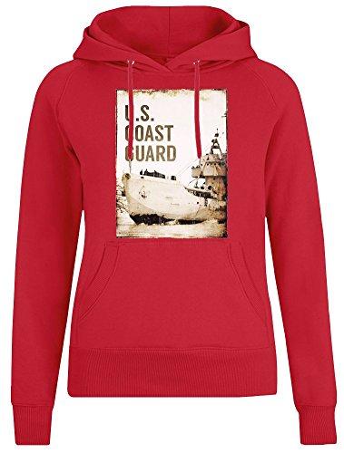 U.S. Coast Guard Jacke mit Kapuzenpulli für Frauen - 100% Weiche Baumwolle - Benutzerdefinierte Bedruckte Damenbekleidung Small