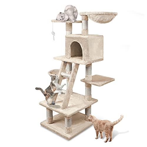 Aufun Stabiler Kletterbaum 120 cm hoch – Kratzbaum inkl. Dicken Sisalstämmen, Höhle, Liegemulde, Aussichtsplattformen & Ladder für Katzen, Beige