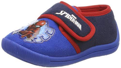 Spiderman Boys Kids Velcro Low Houseshoes, Chaussons Bas garçon, (Cobalt Blue Navy 785), 28 EU