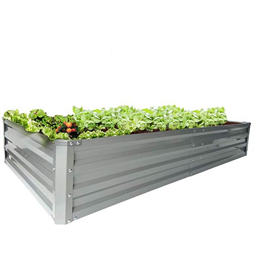 zizin Galvanized Raised Garden Beds Metal Elevated Planter Box Steel Large Vegetable Flower Bed Kit (6 ×3 ×1 ft)