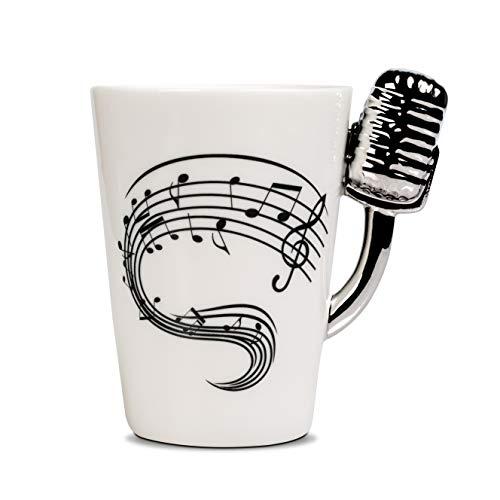 Froster Taza Micrófono en caja negra, Taza de té de café 220 ml, Regalo para Cantante Musicos Amante de la Musica