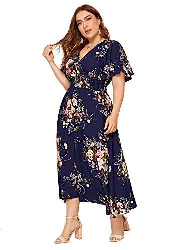 Milumia Women Plus Size Summer Floral Boho High Waist V Neck Maxi Dress Navy 1X