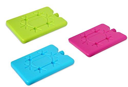 Helmecke & Hoffmann * Isoliertasche mit Kühlakku in Pink, Blau oder Grün | Kühltasche Frühstücksbeutel | ca. 14,5 x 17,5 x 27 cm (DREI Wechselakkus)