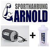 Sportnahrung Arnold Handtuchset mit Eiweisshaker I Shaker Proteinshake I Handtücher Set mit...