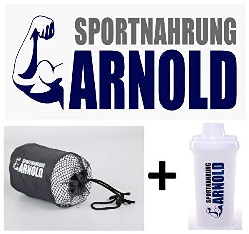 Sportnahrung Arnold Handtuchset mit Eiweisshaker I Shaker Proteinshake I Handtücher Set mit Microfleece Handtuch & Smoothie Maker I Towell Plus Sporthantdtuch