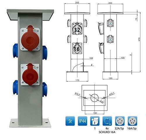 Baustromverteiler Steckdosensäule 1 x CEE16A + 1 x CEE32A + 4 x 230V Schuko Außensteckdose Gartensteckdose IP44