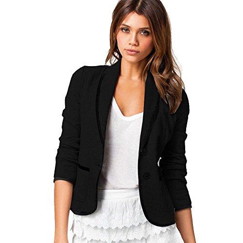 MRULIC Damen Kurzmantel Kurzer Anzug für Arbeitskleidung Klein Open Jacke Softshell(Schwarz,EU-44/CN-5XL)